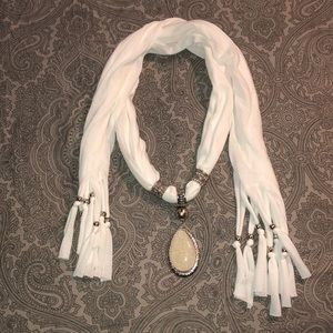 White Scarf Necklace Pendant Jewelry